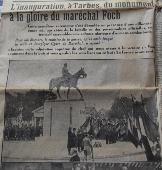 Inauguration du monument dedie au marechal foch 1