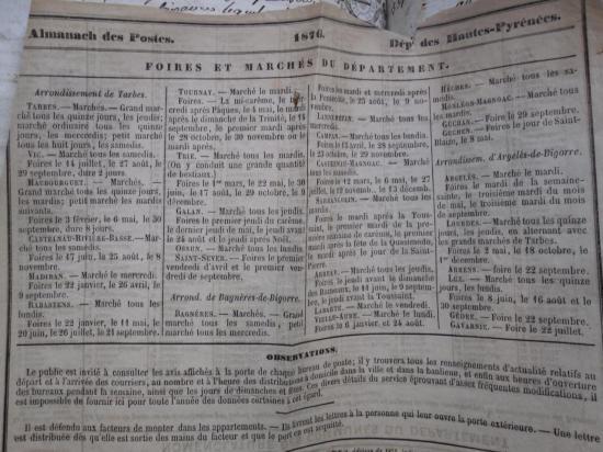 Almach des postes 1876, marchés et foires du département
